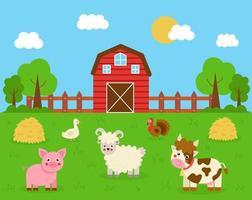 schattige koe, kalkoen, varken, schapen en gans in het boerenlandschap. vector