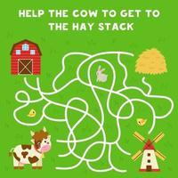 doolhof met cartoon koe en hooi stapel. logisch spel voor kinderen. vector