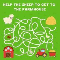 doolhof met cartoon schapen en schuur. logisch spel voor kinderen. vector