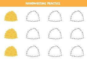 traceer de lijnen met hooiberg. Schrijf oefening. vector
