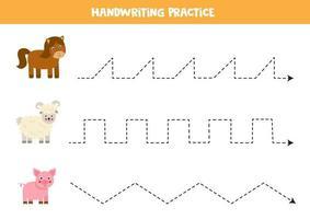 traceer de lijnen met boerderijdieren. Schrijf oefening.