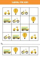 Sudoku-spel met cartoon transportmiddelen. vector