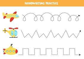 traceer de lijnen met transportmiddelen. Schrijf oefening.