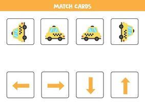 links, rechts, omhoog of omlaag. ruimtelijke oriëntatie met cartoon taxi. vector