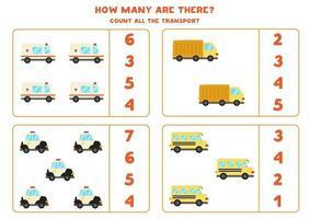 wiskunde spel. tel alle voertuigen. spellen met transportthema. vector