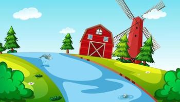 natuur achtergrondscène met schuur, windmolen en rivier vector