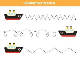 traceer de lijnen met cartoon schip. Schrijf oefening.