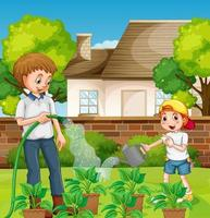 openluchtscène met vader en zijn zoon die plant in de tuin water geven vector