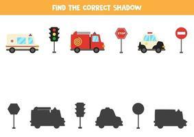 vind de juiste schaduw van voertuigen. logische puzzel voor kinderen.