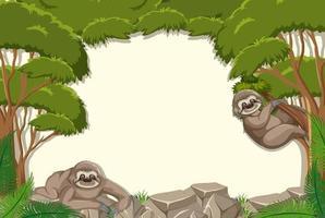 lege achtergrond met luiaard in de bosscène