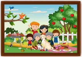 gelukkige familie picknick buiten scène foto in een frame vector