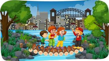 rivierpark buitenscène met veel kinderen