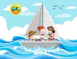 zeescène met mensen op een zeilboot vector