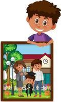 stripfiguur van een jongen die zijn afstudeerfoto vasthoudt