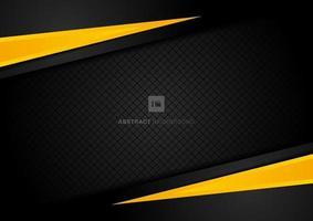 abstracte sjabloon gele geometrische driehoeken contrast zwarte achtergrond. vector