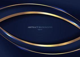 abstracte elegante blauwe gebogen geometrische overlappingslagen met streep gouden lijn en verlichting op donkerblauwe achtergrond vector