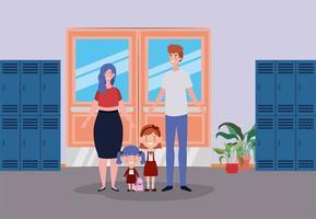 schattig gezin in de gang van de school vector