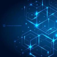 abstracte zeshoeken met laserlicht op donkerblauwe achtergrondtechnologie futuristische communicatie innovatieconcept. vector