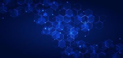 abstracte technologie verbindt patroon van concept blauw geometrisch zeshoeken met gloeiend licht op donkere achtergrond
