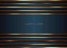 donkerblauwe strepen met gouden lijnen die overlappende laag achtergrondluxestijl aansteken vector