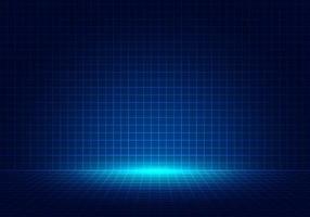 abstracte blauwe het ontwerpachtergrond van het rasterperspectief met verlichting. hoogtechnologische lijnenlandschap verbinden van toekomst. vector