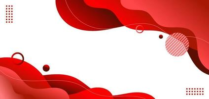 banner websjabloon rode vloeistof of vloeibare vorm met geometrische elementen op witte achtergrond