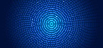 abstracte horizontale banner websjabloon cirkels patroon verbindingen stippen en gloeiende deeltjes blauwe achtergrond vector