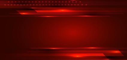 abstracte technologie digitale futuristische concept strepen lijnen met gloeiende lichtstralen snelheid beweging op rode achtergrond vector