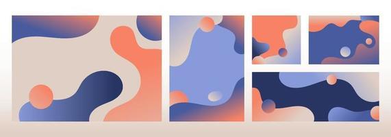set van moderne sjabloonontwerp abstracte vloeibare vormen verloopkleuren achtergrond vector