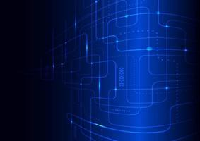 abstract technologie futuristisch concept gloeiende blauwe lijnen en verlichtingsperspectief op donkere achtergrond