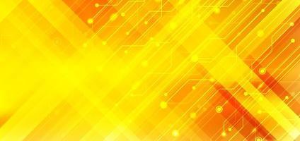 abstracte zakelijke technologie structuur circuit computer diagonale strepen gele en oranje kleurverloop achtergrond met verlichtingseffect. vector
