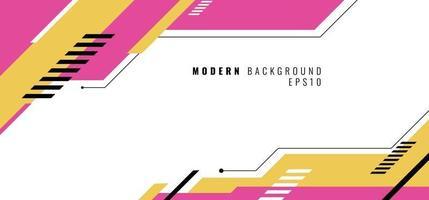 banner web ontwerpsjabloon roze en geel geometrisch ontwerp op witte achtergrond