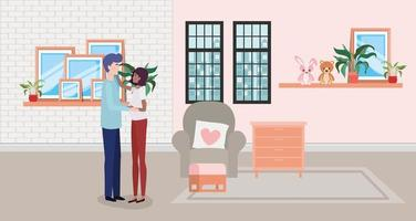 Sex tussen verschillendre rassen paar verwacht thuis een baby vector