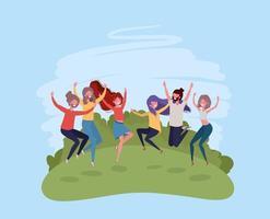 jongeren springen vieren in de parkkarakters