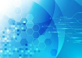 abstracte technologie digitale futuristische concept gloeiende blauwe geometrische zeshoeken met lijn pijl achtergrond