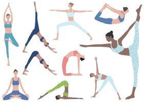 vlakke afbeelding set vrouw doen yoga oefeningen. vector iconen van verschillende yoga-posities geïsoleerd op een witte achtergrond.
