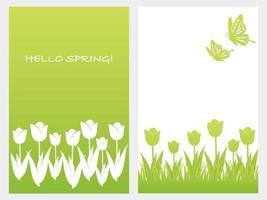 set van vector lente achtergrond illustratie met tulpen, vlinders en tekstruimte geïsoleerd