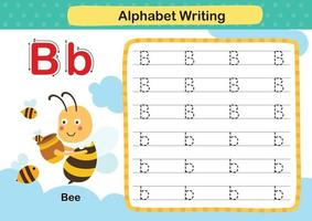 alfabet letter b-bee oefening met cartoon woordenschat illustratie, vector