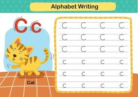 alfabet letter c-cat oefening met cartoon woordenschat illustratie, vector