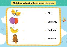 combineer woorden met de juiste afbeeldingen illustratie, vector