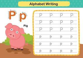 alfabet letter p-varken oefening met cartoon woordenschat illustratie, vector