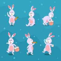 pasen konijn karakter met verschillende poses vector