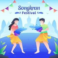 mensen die water spelen op songkran-festival vector