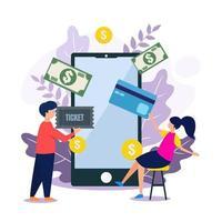 contactloos betalen met mobiele telefoon vector