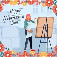 creatieve vrouwen schilderen op canvas in de studio vector