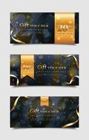 gouden glitter cadeaubon sjablonen vector