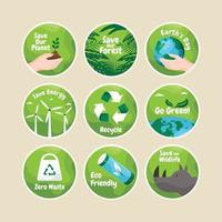 bewaar het stickerpakket van onze planeetcampagne vector
