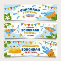 songkran festival banner set