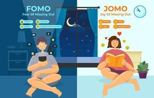infographic van fomo vs jomo vector