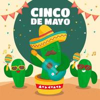 cactuskarakters zingen voor cinco de mayo vector